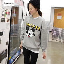 Women round neck full sleeve print cartoon Mickey mujer pullovers autumn winter student fashion sweatshirts Low Price(China)