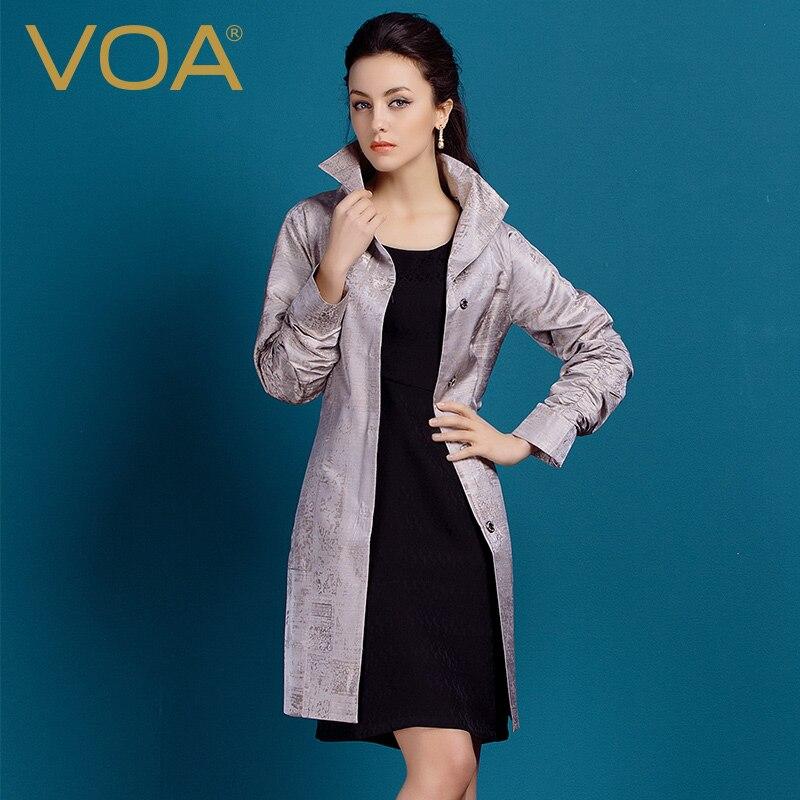 VOA Soie Jacquard Tranchée Manteau Femmes Grande Taille Manches Longues  Slim Ceinture Survêtement Unique Poitrine Poches Cavalières Casual  Printemps F506 257dcb4ff8d