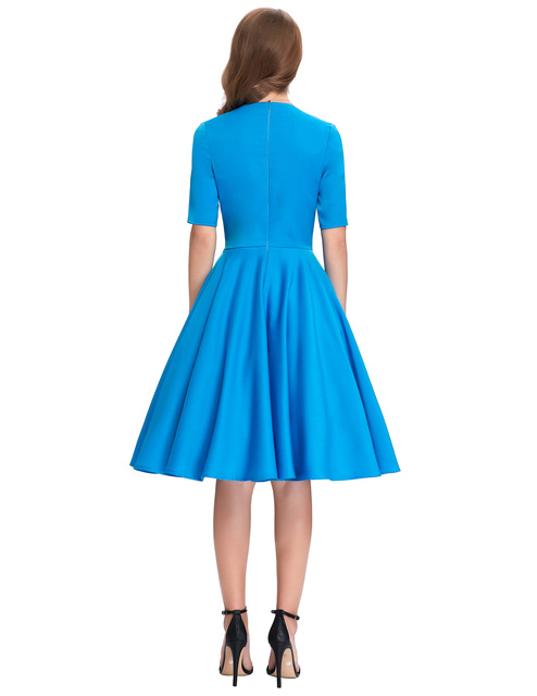 Vintage Style Swing dress elegant 1950s 60s kyliejenner victorian Retro Pinup Office work Evening wedding party Dress Blue 5