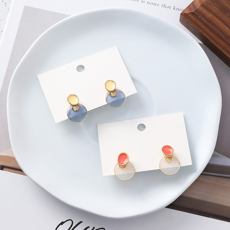 2019 Korean Small Color Oval Stud Earrings Personalized Sweet Geometry Big Round Short Earrings Jewelry Brincos