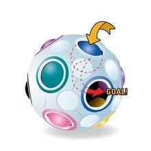 Горячая Прекрасный крутой внешний вид Радуга Обучающие пластиковые куб головоломка дети волшебный шар Дети Взрослые Игрушечные Мячи