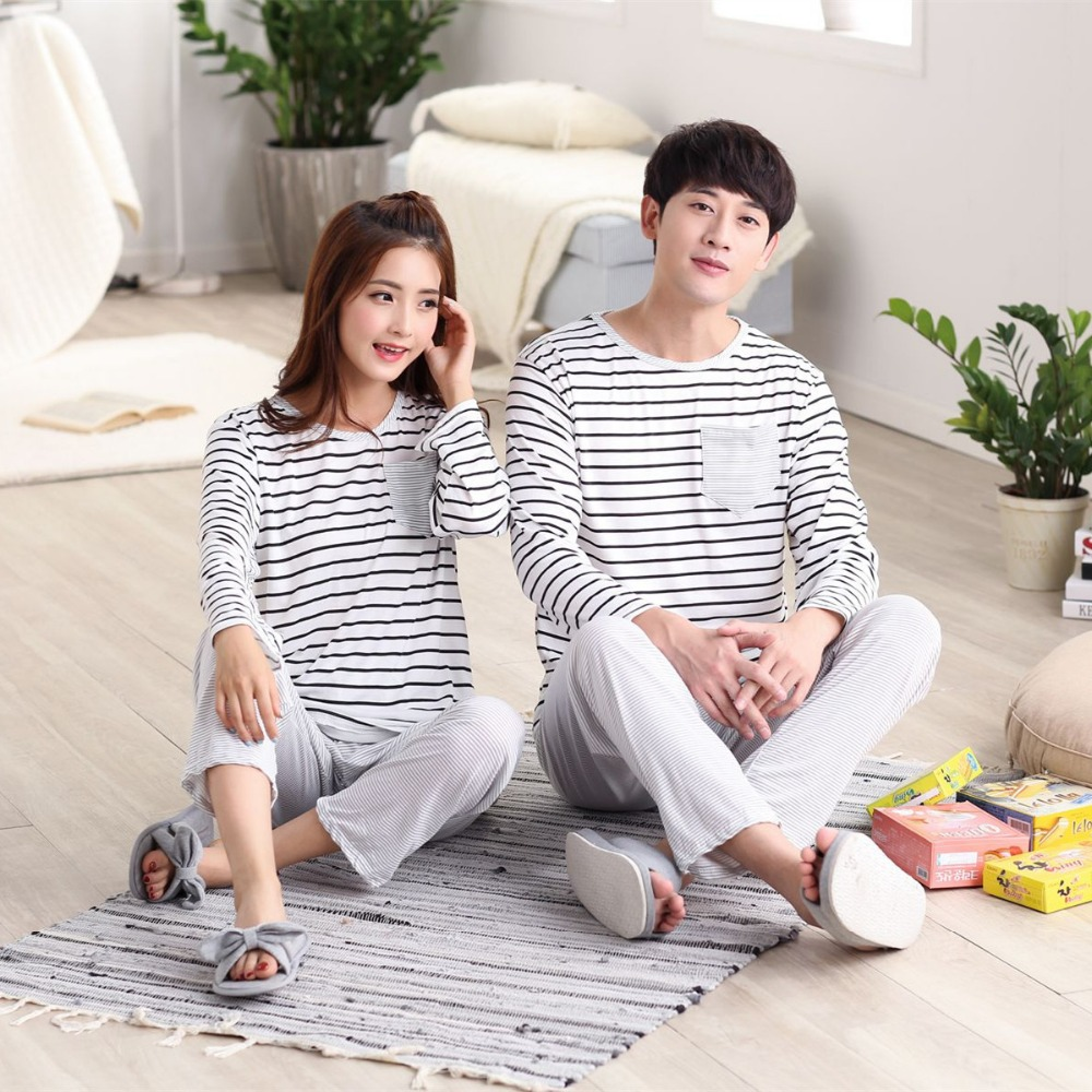 Cute Pajamas For Couple Spring Autumn Striped Pyjama Set Women Sleepwear Nightwear Long Sleeve Pijamas Mujer Home Clothes Q198