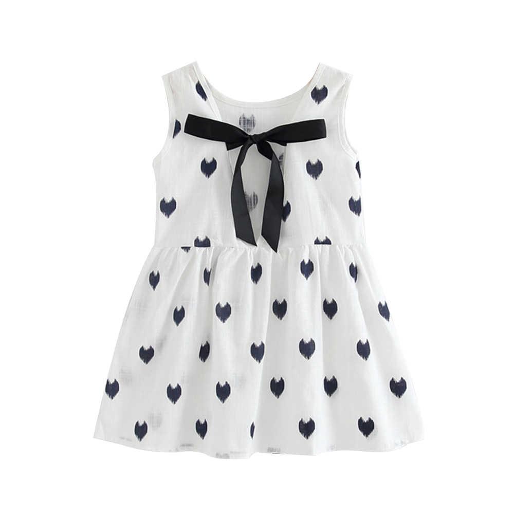 חדש בנות שמלת כותנה שמלות תערובת חולצה ילדה שרוולים ללא משענת דפוס סרוג קיץ נסיכת מפלגה שמלה