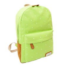 New Fashion Women Girl Canvas Rucksack Polka Dot Air Cushion Belt Backpack School Book Zipper Softback Shoulder Bag Wholesale