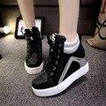 Черный Белый Бесплатная Доставка Скрытый Танкетке Мода женские Лифт Обувь Повседневная Обувь Для Женщин Клин Пятки 2017