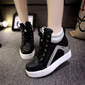 Black White Free Shipping Hidden Wedge Heels Fashion Women's Elevator Shoes Casual Shoes For Women Wedge Heel 2017