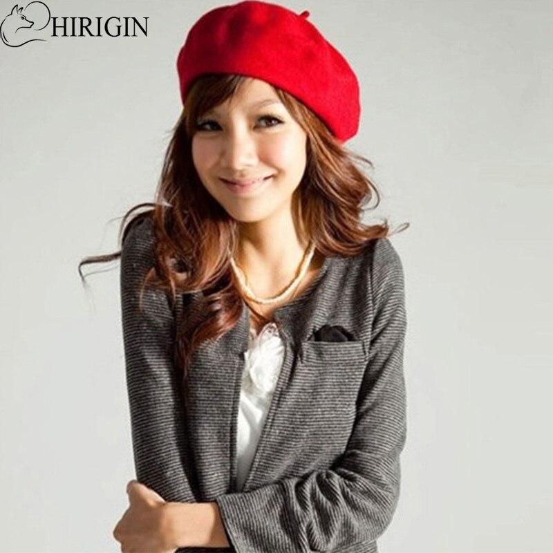 HIRIGIN 2017 Autumn Winter Vintage Womens Sweet Solid Warm Wool Beret French Artist Beanie Hat Ski Cap Hat Female Chistmas gift women artist beret cap french style autumn