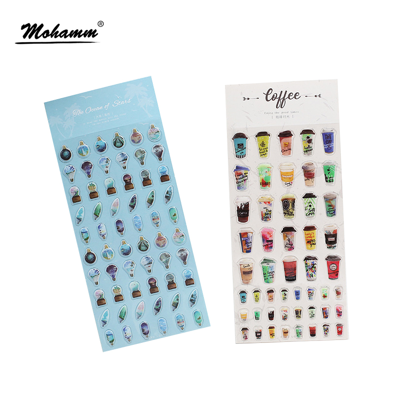 Cute Pet Lover Cats Coffee Decorative Adhesive 3D PVC Stickers Diy Diary Scrapbooking Seal Sticker Stationery School Supplies 8 pcs lot funny sticker cute bear penguin cat decorative adhesive for diary letter scrapbook school supplies stationery