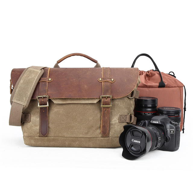 M213 New Canvas Vintage DSLR SLR Camera Bag Shoulder Strap Case Casual Shoulder Messenger Pack for Canon for Sony Waterproof Bag цена