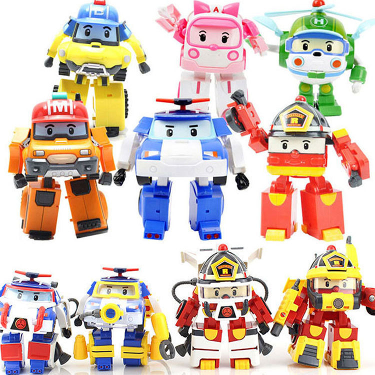 4pcs/6pcs Robocar Korea Robot Kids Toys Transformation Anime Action Figure Super Wings Poli Toys For Children Playmobil Juguetes