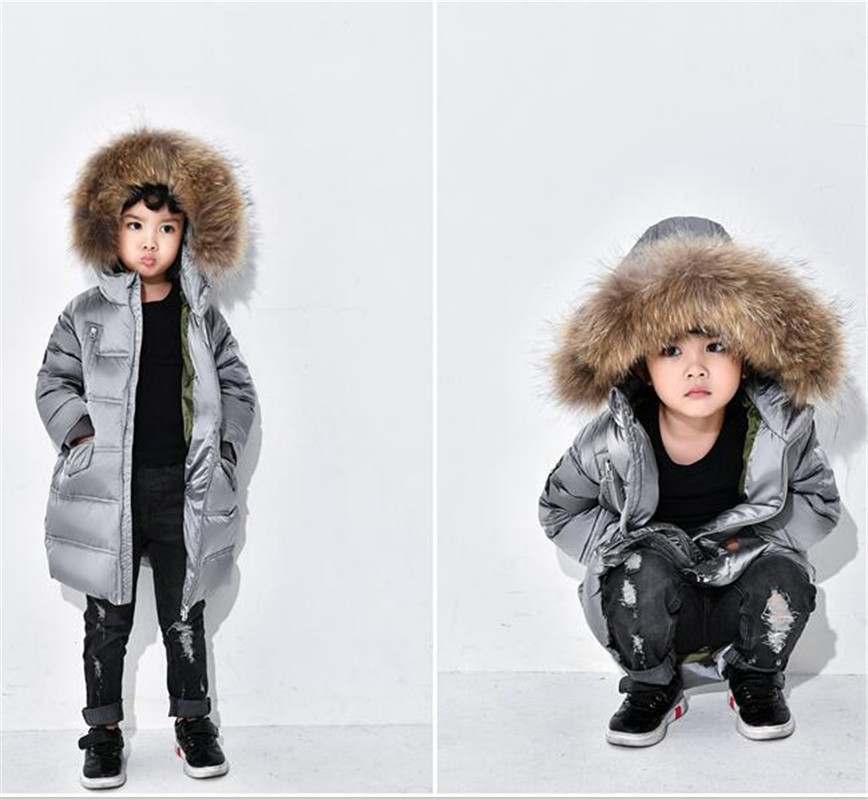High Quality Jacket For Girls Real Fur Collar Hooded Baby Boys Winter Coat Parka Down Jackets Thick Kids Children's Outerwear winter men jacket new brand high quality candy color warmth mens jackets and coats thick parka men outwear xxxl