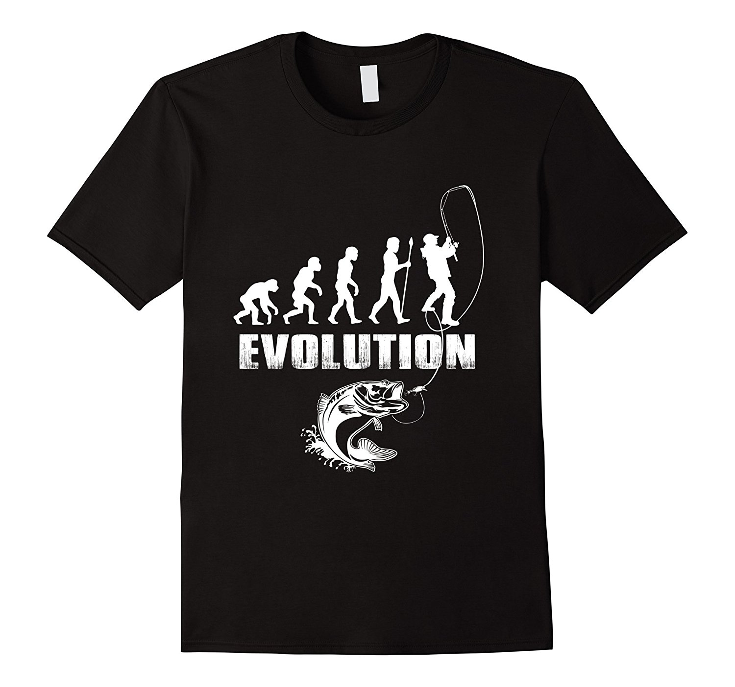Fishinger Evolution American Funny Fishinger T Shirt Gift Idea Summer New Men Cotton T Shirt Top