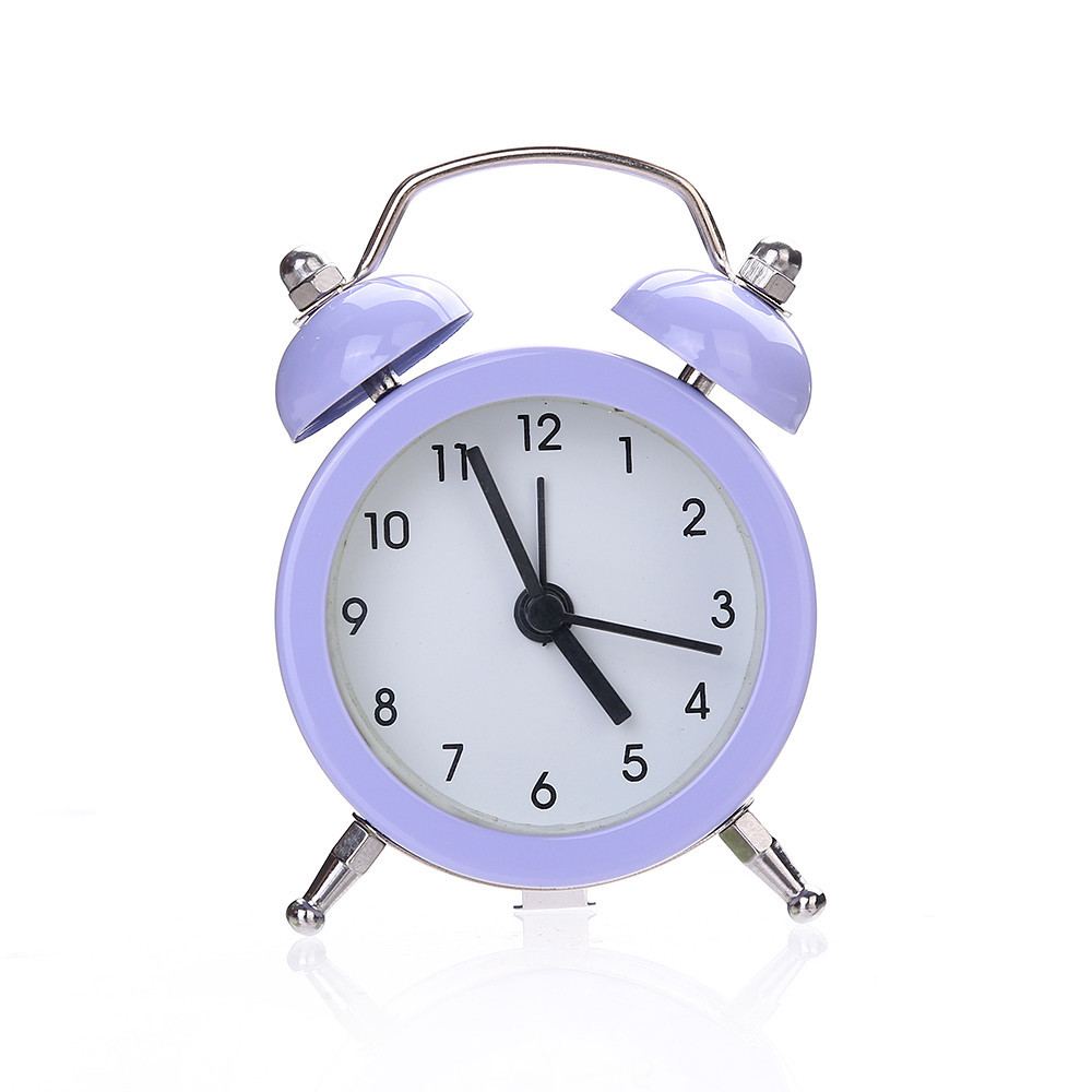 High Quality Alloy Stainless Metal Alarm Clock Mini Round Alarm Clock Desktop Table Twin Bell Silent Clocks