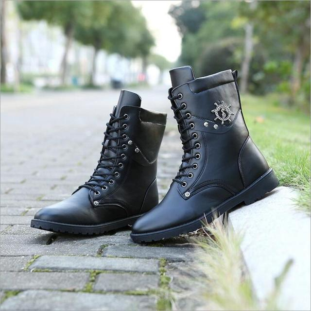 New 2016 Brand Retro Combat Boots Winter England Style Fashionable Men's Short Black Motorcycle Boots Martin Mid-Calf Boots256