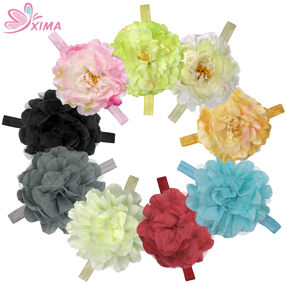 Online get cheap fake hair flowers aliexpress alibaba group xima 9pcslot kids fake floral headband big peony flower and lace flower hairband headwear girls hair accessories wholesale mix dhlflorist Choice Image