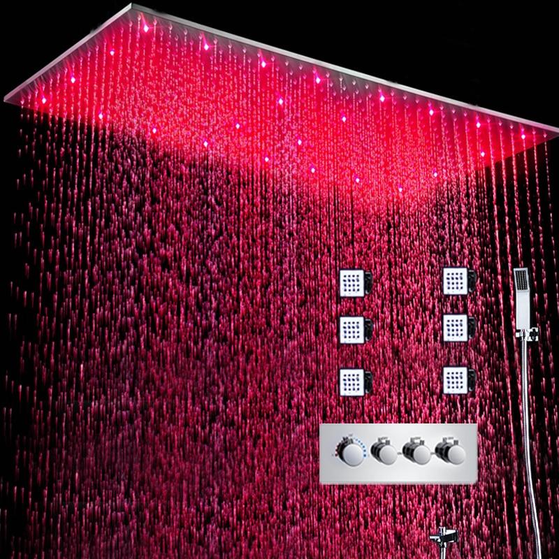 Роскошная система для душа, СВЕТОДИОДНЫЕ большие смесители для душа, для дождя, для горячей и холодной воды, 3 способа, Набор смесителей для в