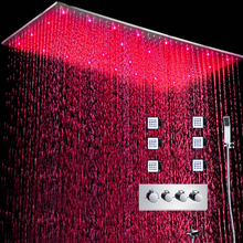 Luxury Shower System LED Large Rain Faucets Hot And Cold 3 Way Bath Mixer Set/ High Flow Massgae Body Jets