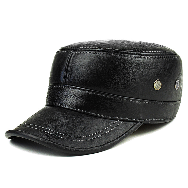Image 5 - Men's Genuine Leather Hat Adult New Cowhide Hat Male Outdoor Warm Flat Leather Hat Winter Casual Leather Cap Adjustable B 8386-in Men's Baseball Caps from Apparel Accessories