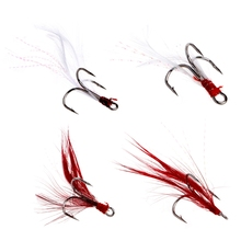 Fishing Soft Lures Treble Hooks Feather Barbed Fishhooks Tackles Accessories New