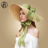 FS Green Black Sun Hat Summer Women Straw 2019 Large Wide Brim Bowknot Hats Beach Boater Fedora Girls Sun Caps