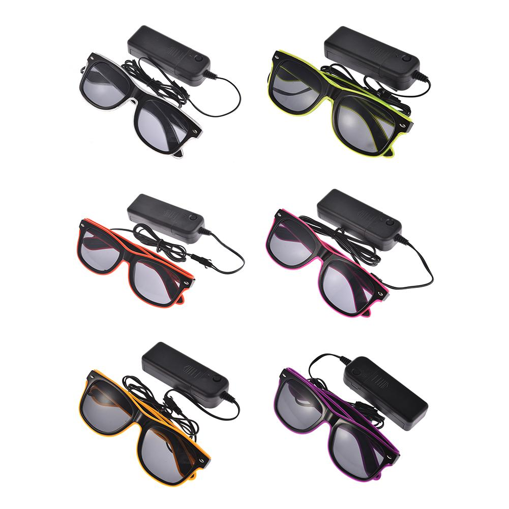 Standard Black lens Luminous LED Glasses EL Wire Fashion Neon LED Cold Light Glasses Glo ...