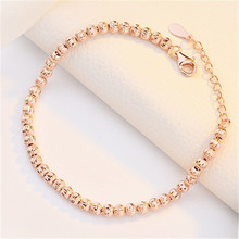 simple lobster clasp sterling silver s925 rose gold and white bead charms DIY jewellery bracelet