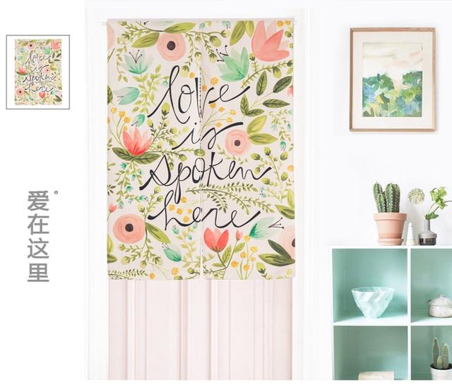 Japan Stil Leinen Baumwolle Pflanze Blume Tur Vorhang Dekoration Hangen Schlafzimmer Wohnzimmer Kuche Home Bar Kaffeehaus