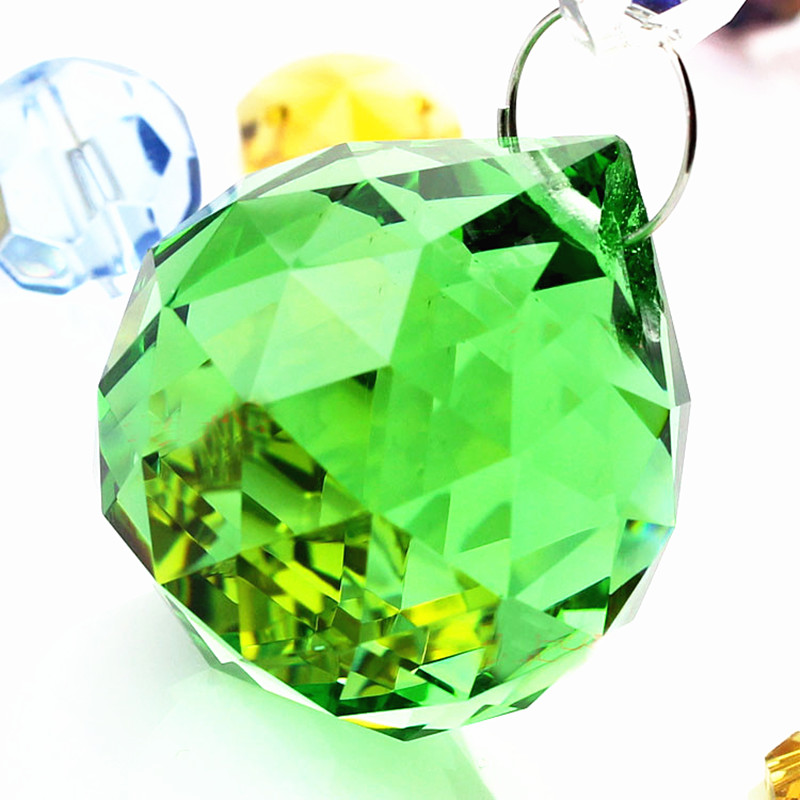 Free shipping 40pcs lot 40mm Chandelier balls 40pcs Rings Green color crystal Glass ball Crystal Hanging