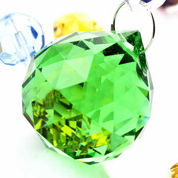 Free shipping 40pcs/lot , 40mm Chandelier balls (+40pcs Rings) , Green color crystal Glass ball, Crystal Hanging Suncatcher - DISCOUNT ITEM  15% OFF All Category