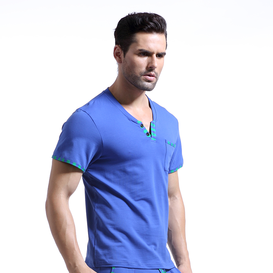 Man Home Leisure Clothes Mens Sexy Cotton Skinny Night Shirts Short Sleeves Sleeping Tops WJ Brand