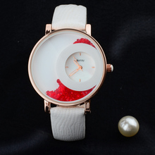 Abrray Elegant Leather Strap Quartz Woman Watch Shell Surface Luminous Hands Gift Watches Quartz Movement Wristwatches