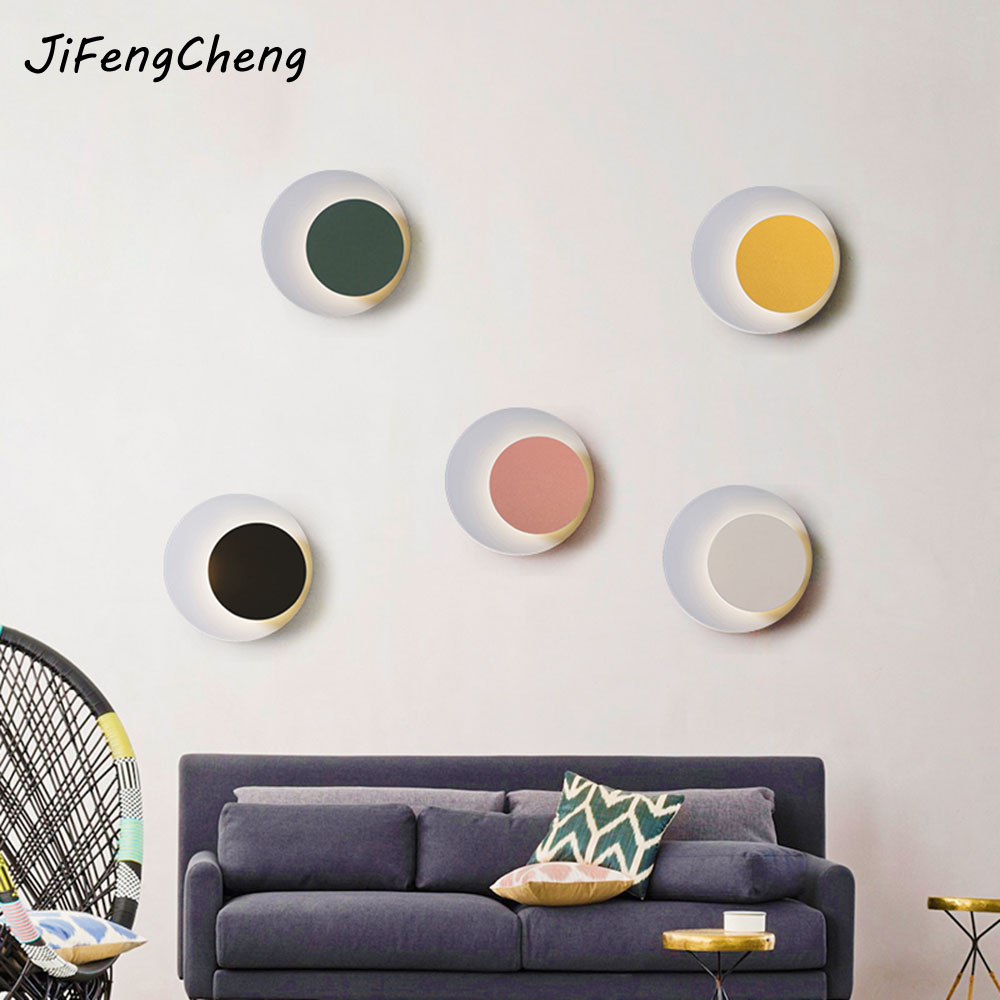 JIFENGCHENG Bedroom Bedside Lamp Nordic Creative Individuality Modern Aisle Lights Corridor Round Wall Lighting Luminaria free shipping 220v high quality modern acrylic lights creative wall lamp fit to install the new listing study bedroom aisle page 3