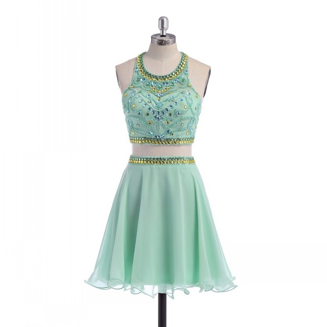 chiffon simple lime green homecoming dresses beaded scoop