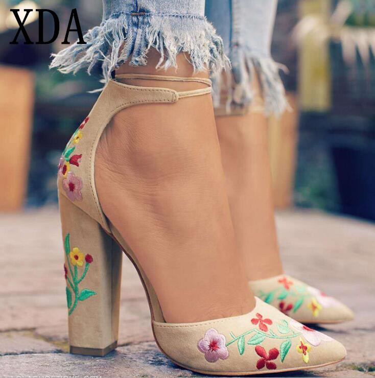 XDA Spring Women Super High Heels Shoes Size 35-43 Embroidery Pumps Flower Single Shoes Female Sexy Pointed Toe Casual Sandals