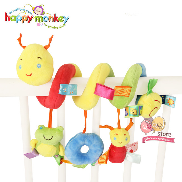 Happy Monkey Cartoon Animals Activity Spiral Baby Stroller Car Seat Ornament Crib Hangings Toy Infant Toys Play Mat Accessory