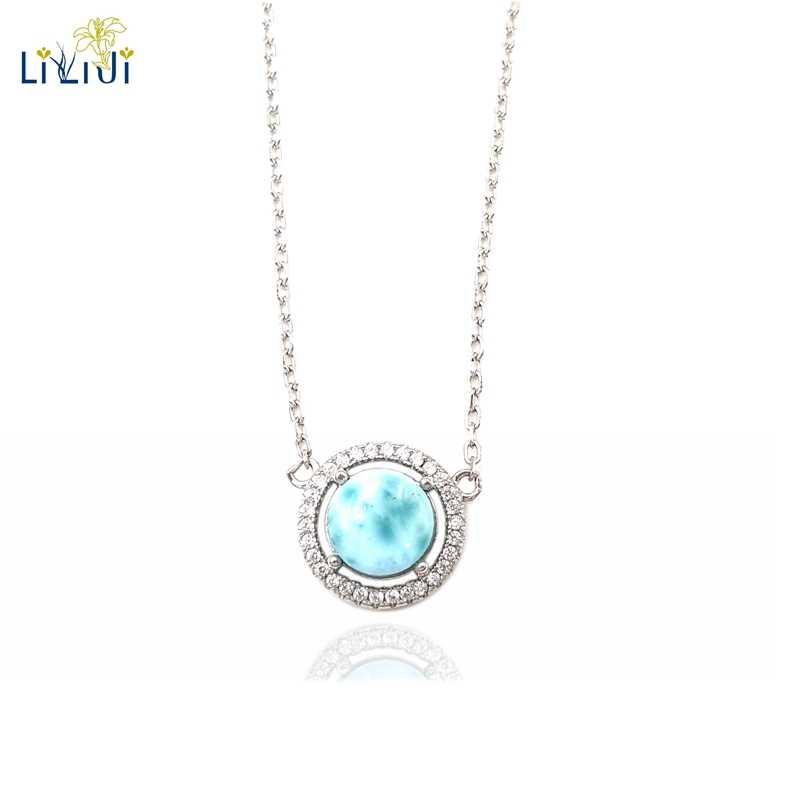 цена на LiiJi Unique Natural Stone Blue Larimar 925 Sterling Silver Shining Pendant Choker Necklace