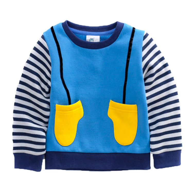 2015 New Autumn And Winter Children s Clothing Stripe Boys And Girls Unisex Cotton Fleece Hoodies