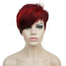 StrongBeauty Womens Red Short wig Pixie Cut Synthetic Capless Wigs Natural