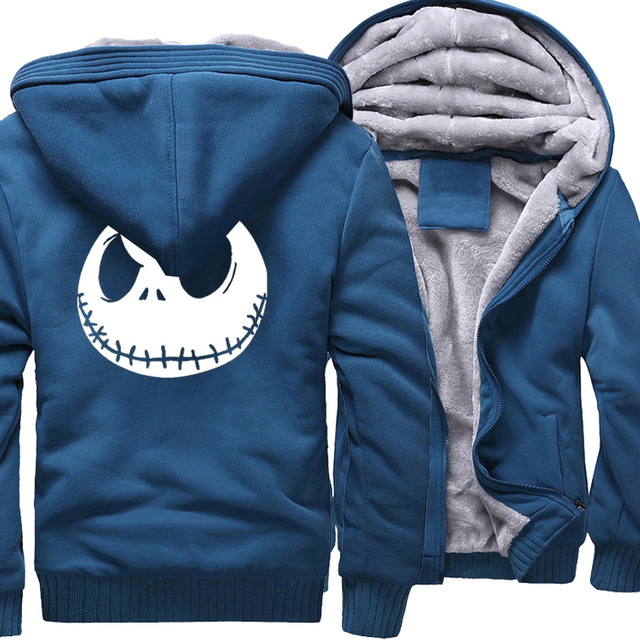 Jack Skellington Evil Face 프린트 힙합 Streetwear Hoody 2018 겨울 두꺼운 후드 티 남성용 하라주쿠 지퍼 자켓 스웨트