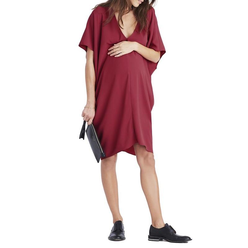 60cc48b2af380 VONDA Maternity Clothes Casual Loose Knee length Dress 2019 Summer ...