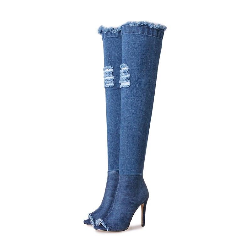 Muchacha Tacones Ripped Zapatos Cremallera Botas Sexy Partido Altos Denim Calzado Sobre Super Wetkiss La Toe Long Fino Rodilla Peep BOY7BzRq