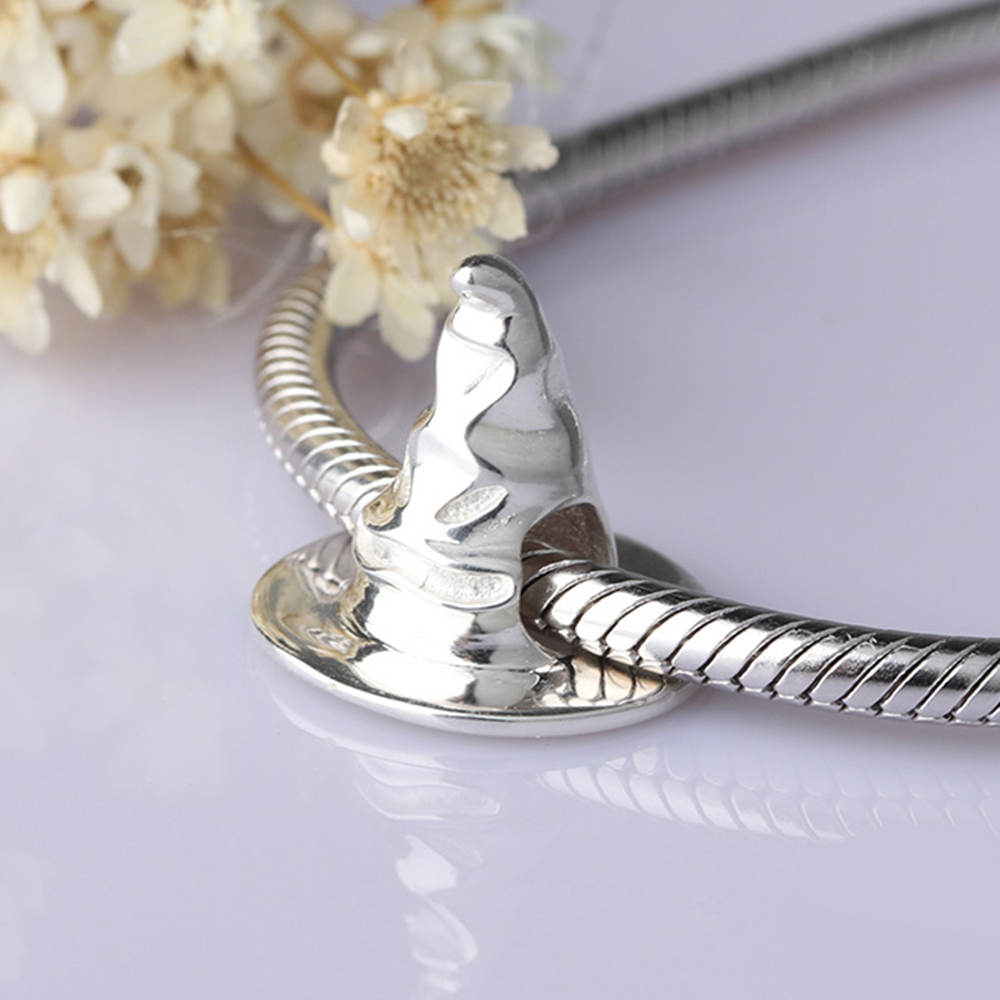 Silver Galaxy 925 Sterling Silver Punk Style Evil Witch Hat Beads Fit Original pandora Charms Bracelet Fashion DIY Jewelry Gift in Beads from Jewelry Accessories