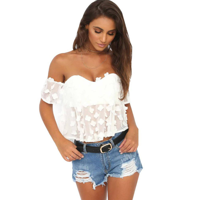 Yjsfg house women white flower backless crop top blouse sexy off yjsfg house women white flower backless crop top blouse sexy off shoulder hollow out tops blouses mightylinksfo