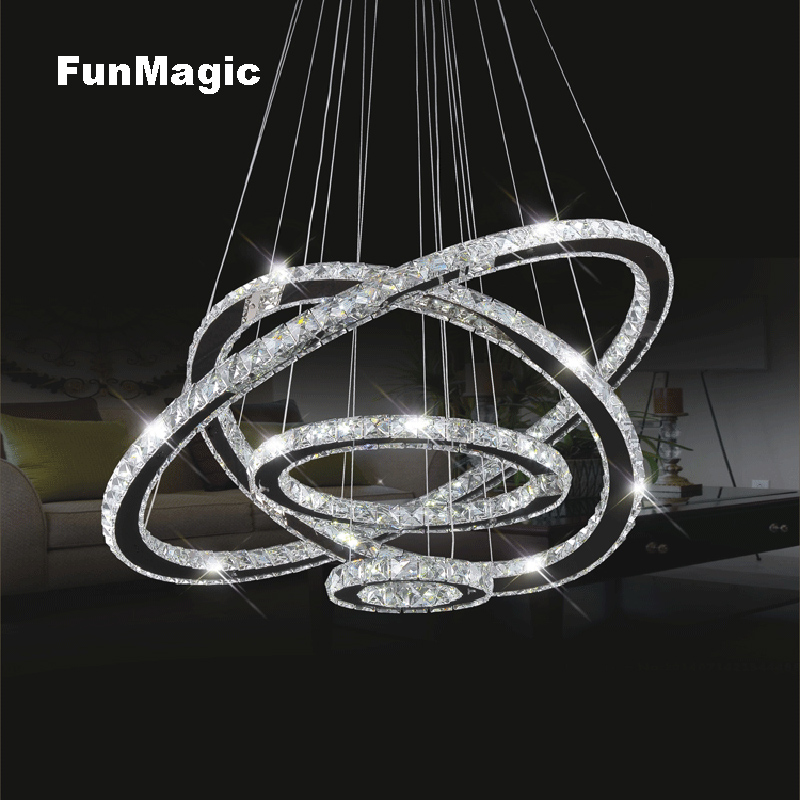 Modern 4 Rings Crystal Pendant Light Led Hanging Lamp Ceiling Fixture Droplight Living Room Bedroom Lighting Dining Room Light