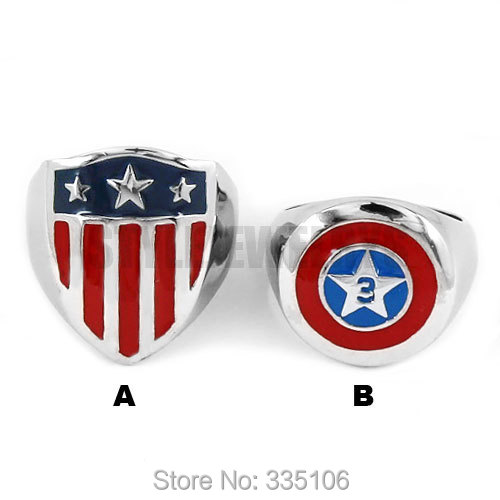 Free Shipping! Captain America Shield Ring Stainless Steel Jewelry Fashion Pentagram Shield Motor Biker Ring Wholesale SWR0565