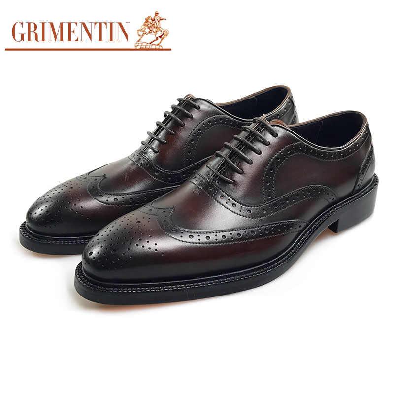 6a50e18b5 GRIMENTIN мужские итальянские классические туфли натуральная кожа коричневый  официальная обувь