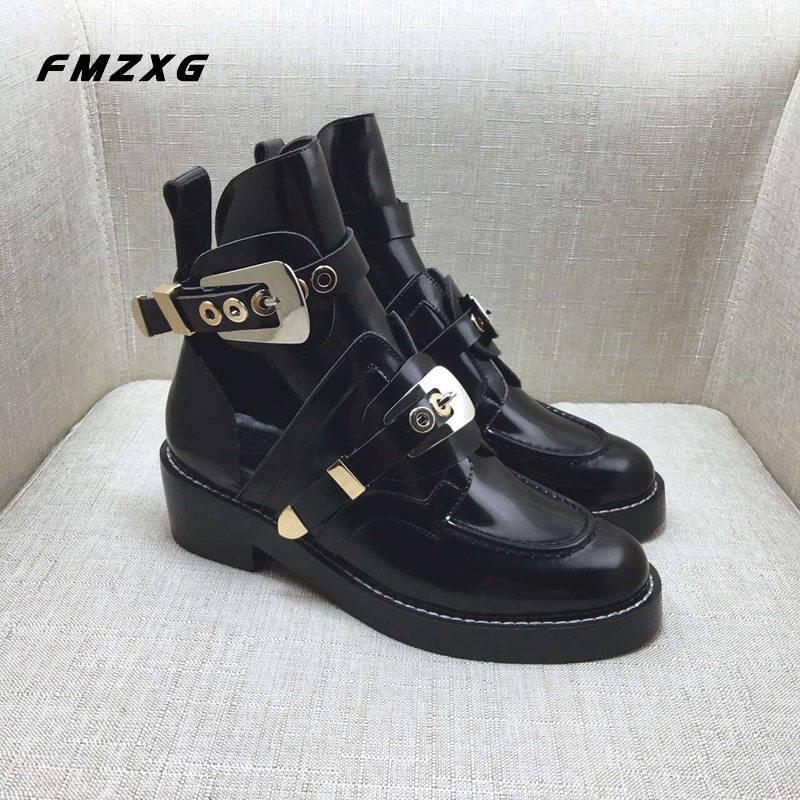 FMZXG botas de moto con hebilla a la moda para mujer primavera otoño zapatos de mujer botas de cuero de invierno botas de cuero genuino de alta calidad