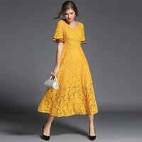 2017 Women S Flared Sleeve V Collar Stitching Lace Dress High Quality Fashion Dress
