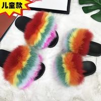 Real Fox Fur Slippers Kids Fur Loafers Cute Wordloin Fur Sandals Child Home Slides Girl Flop Flips Women Furry Slippers Indoor