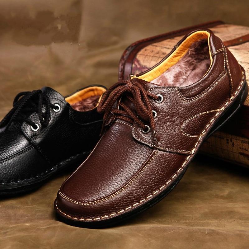 2016 New Fashion Europe Style Men Warm Business Dress Shoes Men Winter Velvet Leather Low Top